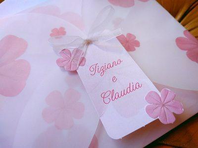 Partecipazione con fiori rosa