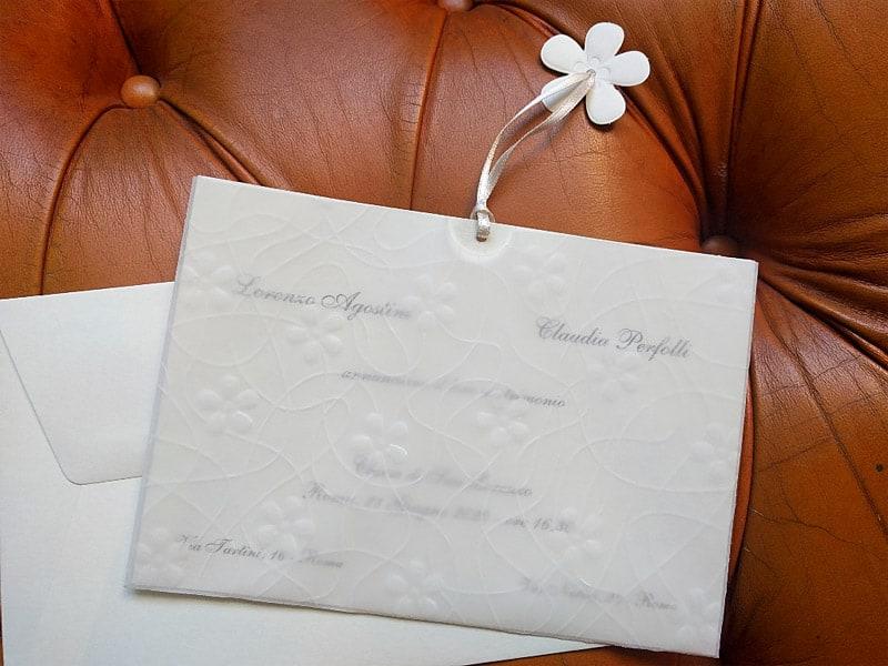 Partecipazioni Matrimonio Romantiche.Partecipazione Tasca Floreale