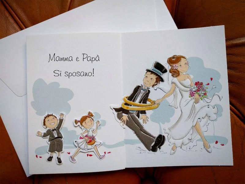 Partecipazioni Matrimonio Online Economiche.Partecipazione Mamma E Papa Si Sposano Con Figli Che Annunciano