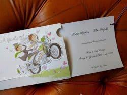 Partecipazioni Matrimonio Pinterest.Partecipazione Sposi In Moto Estraibile Con Cordino Lilla