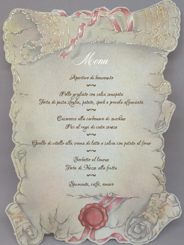 menu in carta pergamena