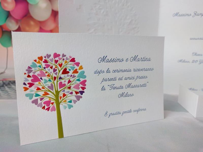 Partecipazioni Matrimonio Albero Della Vita.Partecipazione Con Un Grande Albero Della Vita Colorato E Decorato