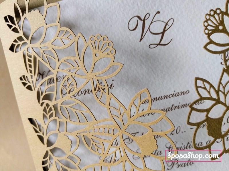 Partecipazioni Matrimonio Carta Kraft.Partecipazione A Taglio Laser Cartoncino Kraft E Interno In Carta