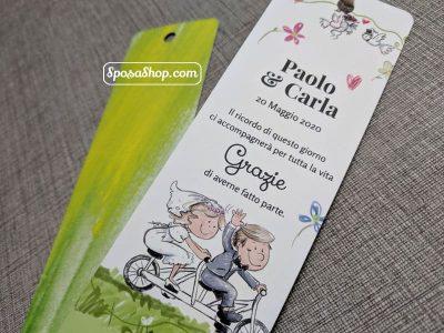 segnalibro sposi in bicicletta