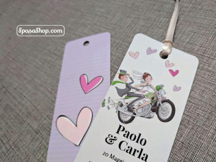 segnalibro sposi in motocicletta