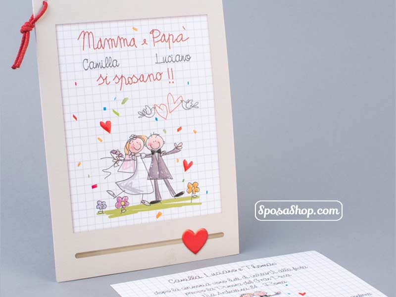 Partecipazioni Matrimonio Mamma E Papa Si Sposano.Partecipazione Mamma E Papa Si Sposano Disegnati Dai Figli
