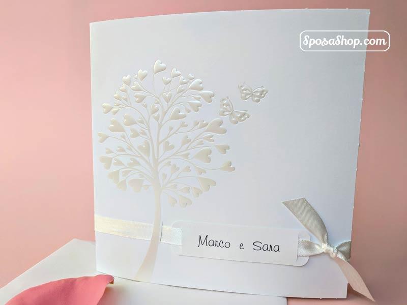 Partecipazioni Matrimonio Albero Della Vita.Partecipazione Albero Della Vita Bianco Decorato In Perla E Nastro