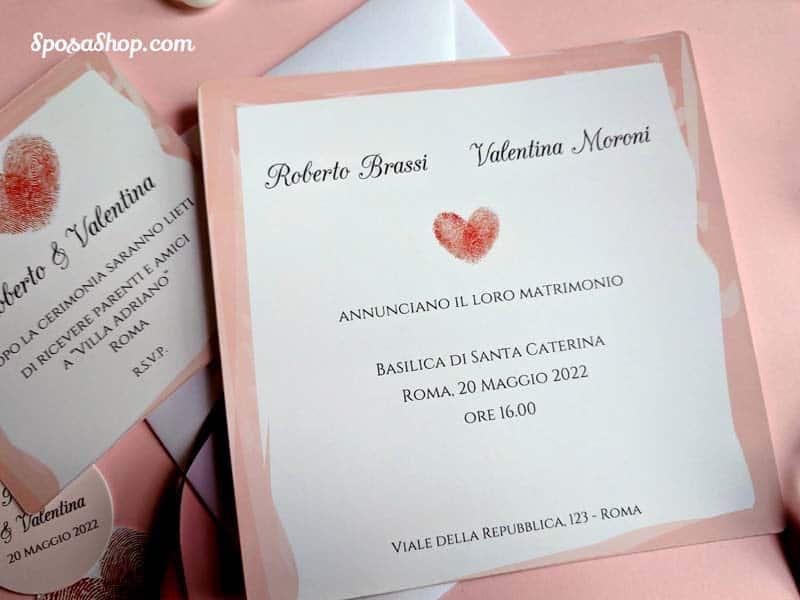 Partecipazioni Matrimonio Digitali.Partecipazione Impronte Digitali A Forma Di Cuore Su Cartoncino