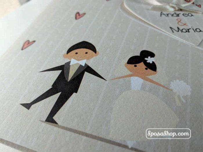 Partecipazione caricatura sposi 6