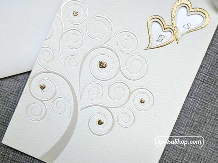 Partecipazione di nozze albero della vita con cuori in oro