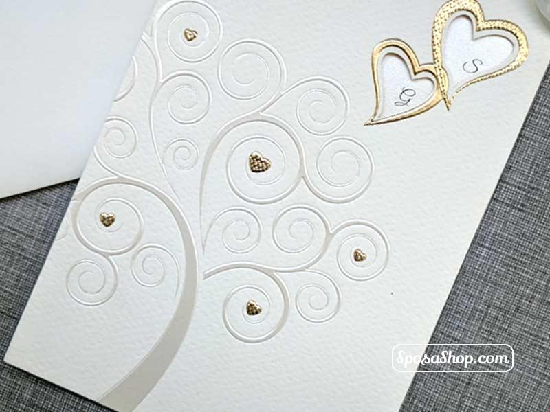 Partecipazioni Matrimonio Albero Della Vita.Partecipazione Albero Della Vita Con Cuori In Oro E Decori In Perla