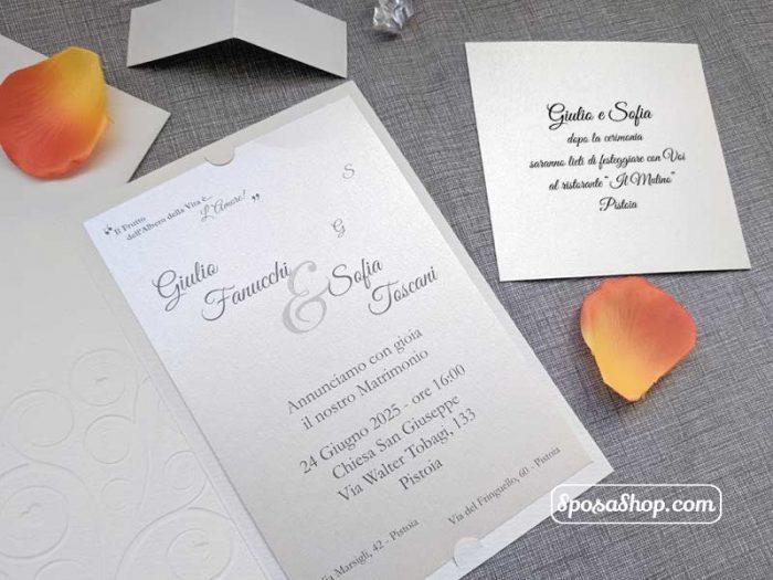 Partecipazione di nozze albero della vita con cuori in oro 2