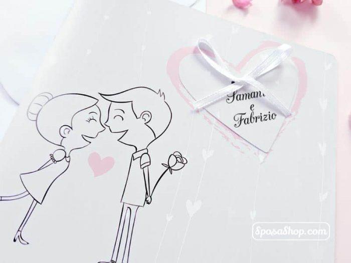 Partecipazione con sposi disegnati