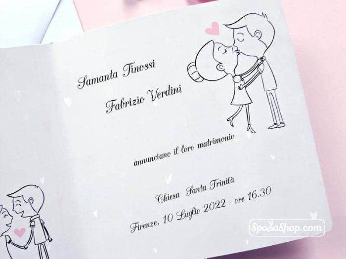 Partecipazione con sposi disegnati 2