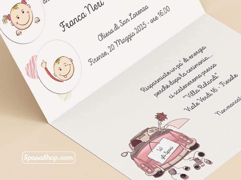 Partecipazioni Matrimonio Firenze.Partecipazione Auto Con Figli Che Annunciano Il Matrimonio