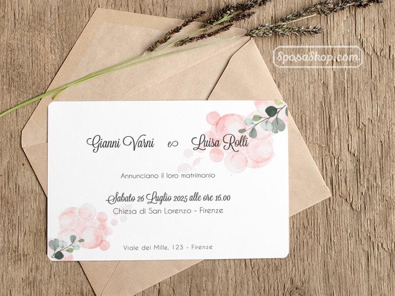 Invito di Matrimonio Fiori Rosa Busta Kraft